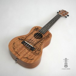 koki'o Ukulele koncert Laser Art  mahoń