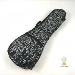 Zebra Music solidny czarny pokrowiec dla ukulele White Letters 04