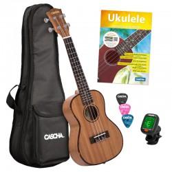 Cascha® ukulele koncertowe mahoń Premium z pokrowcem i tunerem