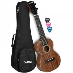 Cascha® ukulele koncertowe lita akacja z futerałem