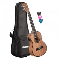 Cascha® ukulele tenorowe EQ mahoń Premium elektro-akustyk z pokrowcem