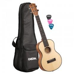 Cascha® ukulele tenorowe lity świerk Premium z pokrowcem