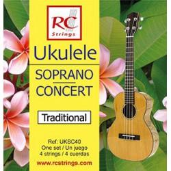 Struny RC Strings do ukulele soprano i koncert UKSC40 Clear Nylon