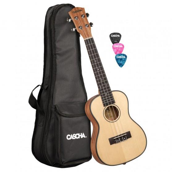 Cascha® ukulele koncertowe lity świerk Premium z pokrowcem