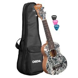 Cascha® ukulele soprano solid spruce Premium mahogany with gigbag
