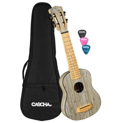 Cascha® ukulele soprano Black Premium mahogany with gigbag