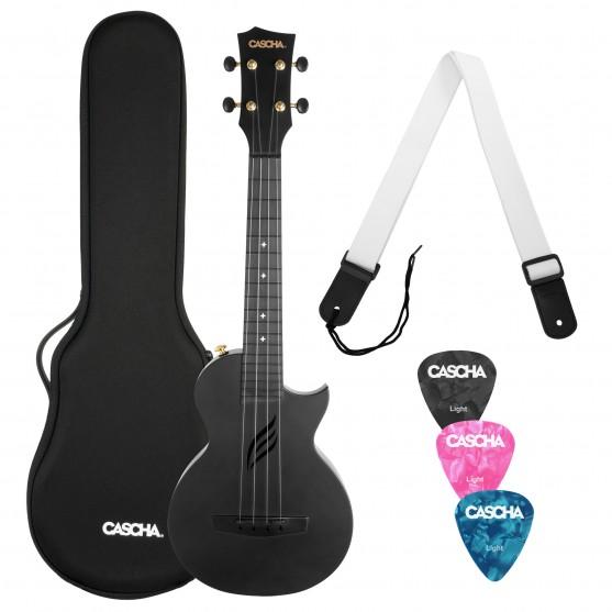 Casha® ukulele koncertowe Black z futerałem i akcesoriami