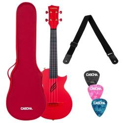 Cascha® ukulele koncertowe Red z futerałem i akcesoriami