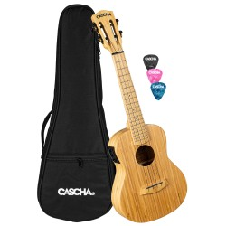 Cascha® ukulele koncertowe Bamboo Natural EQ z futerałem